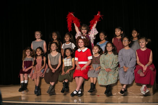 students during production of Annie